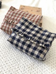 """New design.Gingham linen toiletry bag with pretty frill and linen lined.Available in navy or salmon pink linen.Size  w11"""" x h9"""" x d4"""" approx.Handmade to order, please a... Sewing Hacks, Sewing Tips, Handmade Design, Toiletry Bag, No Frills, Gingham, Salmon, Coin Purse, Wallet"""