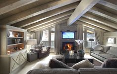 I've fallen in love! Chalet White Pearl, French Alps by architect Philippe Capezzone. A wonderful mix of contemporary design mingled with traditional Savoyard stone and classic woodwork panelling spreading over three floors; indoor swimming pool included.. Ah.. #France #architecture