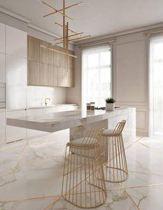 Cozinha elegante incrível com toques de ouro - KÜCHE - Modern Kitchen Design, Interior Design Kitchen, Modern Interior Design, Modern Bar, Marble Interior, Luxury Interior, Gold Interior, Contemporary Interior, Modern Decor