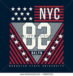Athletic sport new York typography, t-shirt graphics, vectors - stock vector