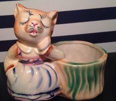 RARE Vtg Kitty Cat Planter Pot Made In Japan Pottery UNIQUE Shiny Glaze