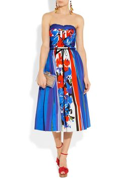 RED Valentino | Printed cotton strapless dress | NET-A-PORTER.COM