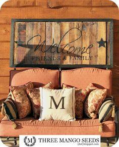 Pallet welcome sign for patio outside! Pallet welcome sign for patio outside! Pallet Crafts, Diy Pallet Projects, Home Projects, Wood Crafts, Pallet Ideas, Palette Diy, Diy Casa, Decoration Bedroom, Pallet Signs
