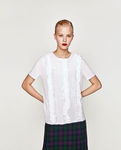 Image 2 of T-SHIRT WITH RUFFLED FRONT from Zara