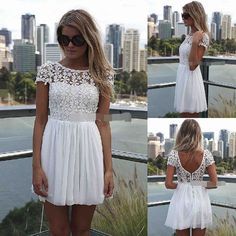 206db4ab68e3 Women Summer Bandage BodyCon Lace Evening Sexy Party Cocktail MINI Dress  White