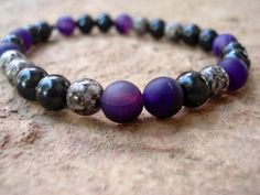 Black Beaded Bracelet with Banded Agate by MakeMeSmileJewelry