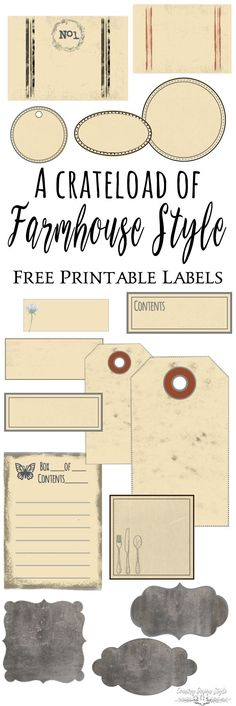 Pin this to remember to grab your huge collection of farmhouse style printables. A total of 167 labels to organize your home. | Country Design Style | http://countrydesignstyle.com