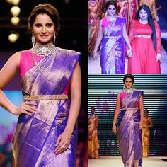Tennis player #Saniamirza dazzles as showstopper at India International Jewellery week 2015. Graceful Sania Mirza walks on runway for Moni Agarwal and looked flawless in her outfit by Mandar #IIJW2015 #Saniamirza #Moniagarwal #IIJW2015 #Indianwear #glamorouslook #bebeautiful #jewellery #colours #instafashion #classy #traditionallook #stunningbeauty #lookelegant #sportsperson #sarees #pink #purple #accessories #gorgeous #fashionshow #ontheramp #showstopper #elegantlook