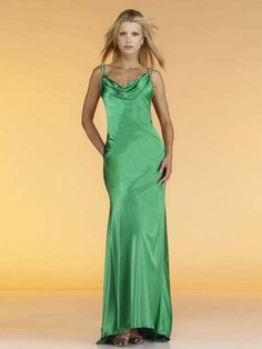 2012 Style Sheath / Column Spaghetti Straps  Beading  Sleeveless Floor-length Elastic Woven Satin Green Prom Dress / Evening Dress