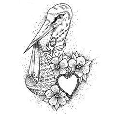 Work in progress;) #design #diseño #drawing #dibujo #sketch #ink #dotwork #lines #stork #cigueña #love #amor #heart #corazon #baby #bebe #family #familia #flowers #flores #tattoo #clavahead #alberto_del_aguila
