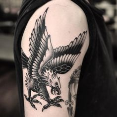 This great traditional eagle tattoo was done recently on a client that travels over 4 hours to get tattoos in Melbourne by Wade Johnston  @wadejohnston