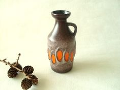 Vintage ceramic pitcher vase by Strehla, with lava decor, East Germany 1960s art ceramics by Cherryforest on Etsy