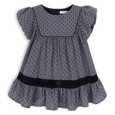 Troiz Enfants - grey dress with dots Retro Fashion, Kids Fashion, Girls Dresses, Summer Dresses, Little Babies, Gray Dress, Kids Outfits, Chic, Children