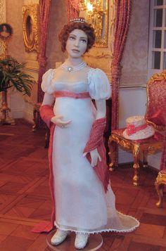 Emmy from 1810 regency era -  = Artisan Annemarie Kwikke - makes dolls from porcelain and polymer clay. The dolls are always 1/12th scale Z