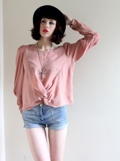 Shop this look on Kaleidoscope (blouse, shorts, hat, necklace) http://kalei.do/W82QiWoTauHPOCHQ