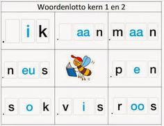 Groep 3   Thema: n.v.t.   werkgebied: lezen  Woordenlotto per 2 kernen.      (klik op afbeelding voor alle woordenlotto's)