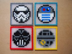 Star Wars Coasters Set of 4 Hama beads by TheRetroMarket Perler Beads, Perler Bead Art, Fuse Beads, Melty Bead Patterns, Pearler Bead Patterns, Perler Patterns, Beading Patterns, Perle Hama Star Wars, Deco Gamer