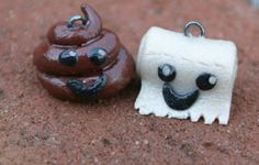 Polymer Clay Best Friend Charms/ #Poo and Toilet Paper by Mandi7MM, $6.00