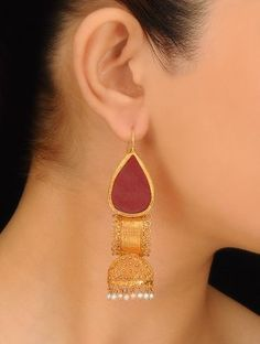 Pair of Golden-Maroon-Ivory Ethno Silver Earrings