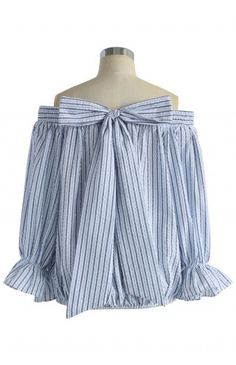 Pastel Blue Stripes Off-shoulder Top with Bowknot - Retro, Indie and Unique Fashion
