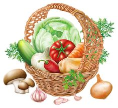 Basket with Vegetables PNG Clipart Image