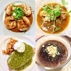 Mexican feast last night. Shrimp with Chipotle Chocolate Sauce; Albondigas Soup; Pork with Salsa Verde, Spanish Rice and Goat Cheese; Mexican Hot Chocolate Creme Brûlée