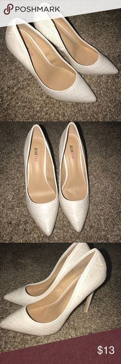 White heels. LOVE THEM. 💞💞 Accidentally bought the wrong size and never went through the trouble of sending them back!!! JustFab Shoes Heels