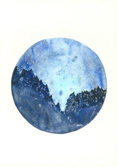Starry Night Art Print Circle Art 8x11 Stars Shooting by kroksg, $23.00