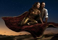 Jennifer Lopez and Marc Anthony as Jasmine and Aladdin - by Annie Lebowitz