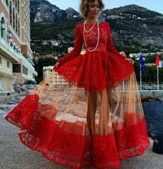 Red Vintage Lace Elegant Long Sleeve Maxi Ball Gown Retro Evening Prom Dress #handmade #BallGown #Casual