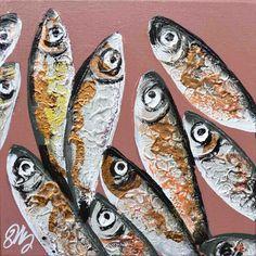 Peinture sardines châssis XXL fond Rouille