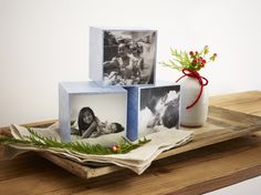 Decorative wooden photo cubes.