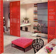 Pink and red room from Armstrong vintage ad file - 1954. Retro Living Rooms, Living Room Red, Flat Interior, Interior Design, 1950s Bedroom, Retro Renovation, Vintage Bathrooms, Dream Bathrooms, Vintage Interiors