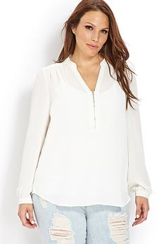 Dreamy Georgette Zippered Top | FOREVER21 PLUS - 2000051792