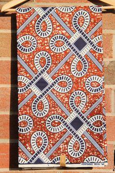 "Celtic Knot Print BATIK Ankara, African wax print fabric / Brown, Navy Blue, Natural / 1 yard x 46"" /Tribal African Fashion Supplies"