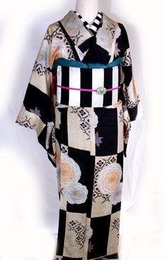 格子とデイジー!錦紗縮緬/袷着着物 - ポップでガーリーな普段着物・ヘッドドレス・古道具・雑貨・アンティークやアーティスト作品の販売 『chiwachiwa ちわちわ』