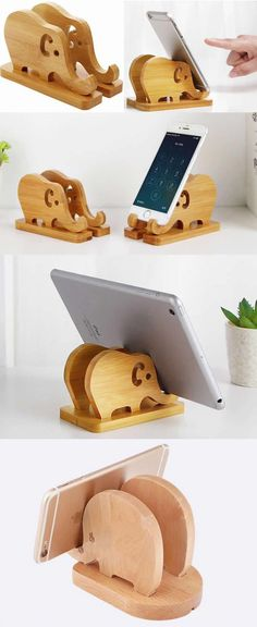 Bamboo Wooden Elephant iPad iPhone Cell Phone Stand Holder Charge Cord Cable Organizer iPad iPhone SmartPhone Charging Station Stand Dock Mount for iPhone iPad and Other Cell Phone