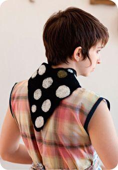 Felted wool scarf by Karen Thurman for Specks & Keepings. So soft! Scarf Hat, Wool Scarf, Felted Wool, Wool Felt, Neckerchiefs, Fiber, Scarves, Dots, Sewing