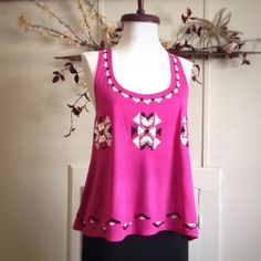 Pink Tank High low top, upper back part sheer  INC International Concepts Tops Tank Tops