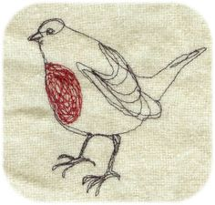 a robin from a sewing machine  www.janetclare.co.uk