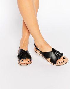 Image 1 ofASOS FOXTROT Leather Tassel Sandals