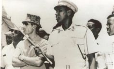In this undated photo, young Muammar Gaddafi (second from right) is welcomed by Somali President Siad Barre (left with glasses) to Somalia.