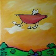 One Fine Day Flying Pig Art