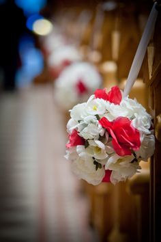 DIY wedding church pew flower pomander