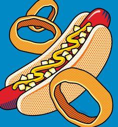 Pop Art Digital Art - Hotdog On Blue by Ron Magnes