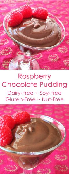 Dairy-Free Chocolate Pudding with Raspberry Infusion - the recipe is soy-free, nut-free, gluten-free & vegan, too!