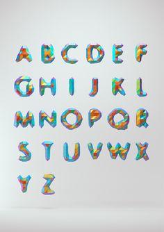 Low Poly Font by MountStar , via Behance