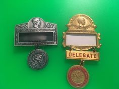 2 Vintage Illinois Federation of Labor Annual Convention Badges 1951 & 1956