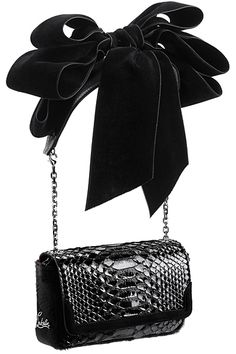 Lady in Black, Black, Fashion, Style, Chic, Glamour, Blouse, Bow, Feminine, Christian Louboutin, Bags, 2011 Fall-Winter