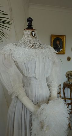 White Cotton Dress with Lace, ca. 1905
